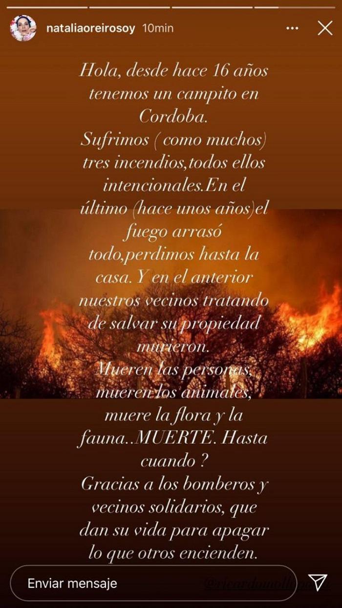 NATALIA OREIRO incendios en cordoba