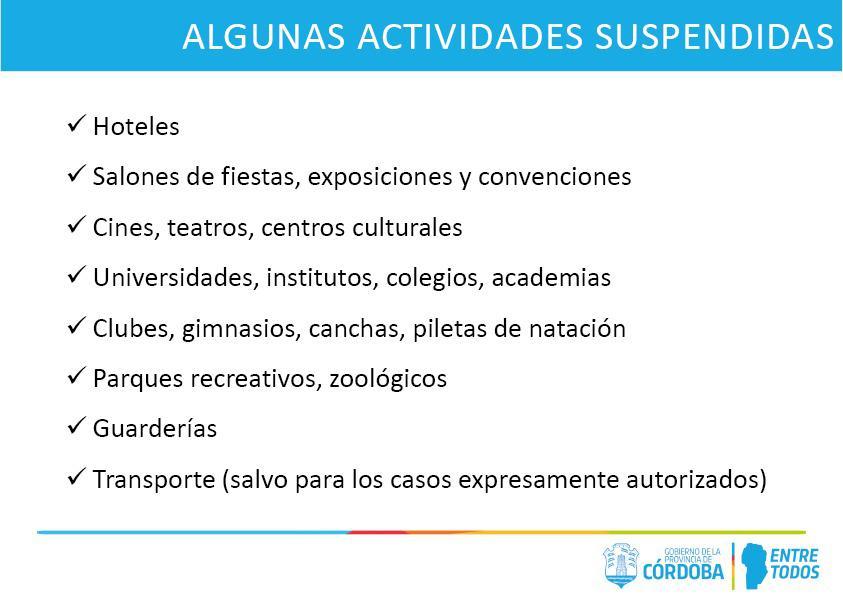 actividades suspendidas medidas
