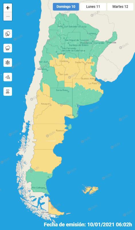 Alerta Amarilla para Calamuchita y el sur de la Provincia