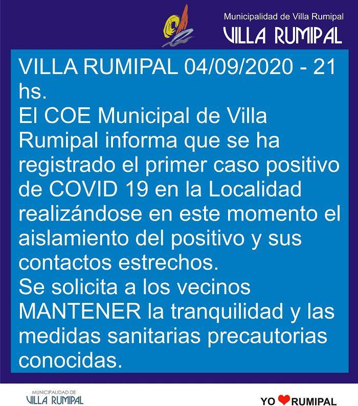 Placa Rumipal primer covid positivo 04-09