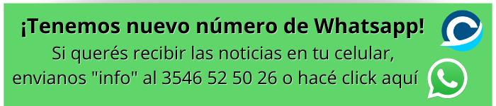 ¡Tenemos nuevo número de Whatsapp! Si querés que te lleguen las noticias a tu celular, envianos info al 👉 3546 52 50 26 o hacé click aquí
