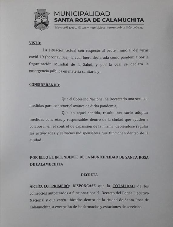 Nuevo decreto cierre de comercios Santa Rosa