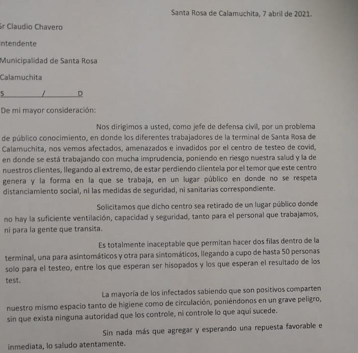 CARTA DE TRABAJADORES DE LA TERMINAL DE OMNIBUS